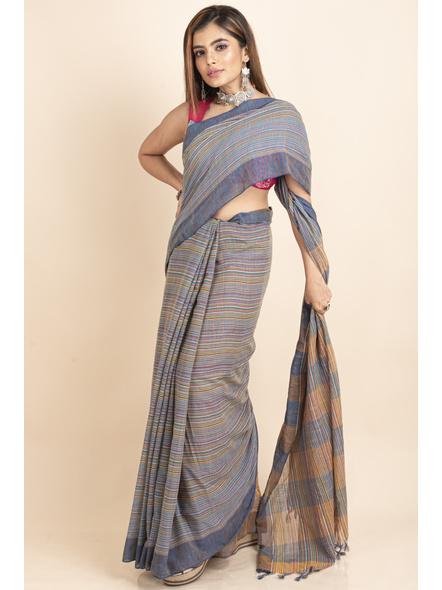 Khadi Cotton Multicolored Stripe Handloom Saree-3