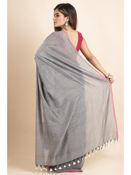 Mercerized Handloom Khadi Cotton Grey Pink Saree with Blouse Piece-1