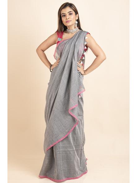 Mercerized Handloom Khadi Cotton Grey Pink Saree with Blouse Piece-3
