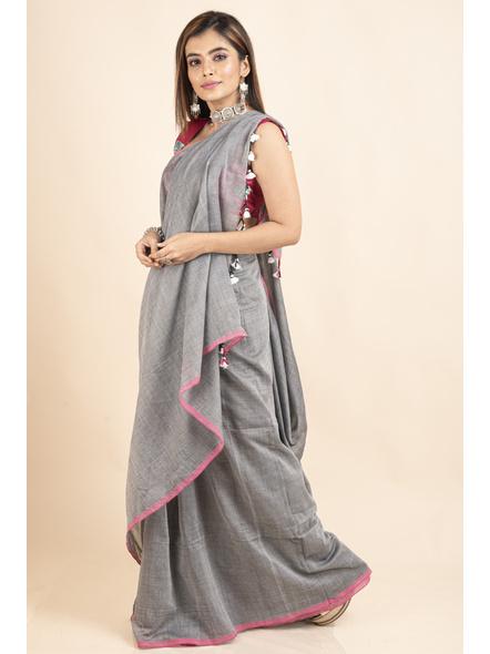 Mercerized Handloom Khadi Cotton Grey Pink Saree with Blouse Piece-2