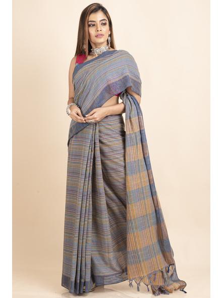 Khadi Cotton Multicolored Stripe Handloom Saree-LAAKCHS004