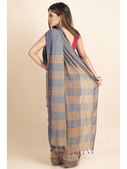 Khadi Cotton Multicolored Stripe Handloom Saree-1