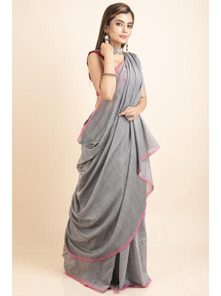 Mercerized Handloom Khadi Cotton Grey Pink Saree with Blouse Piece-4