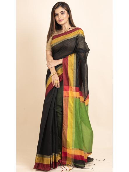 Black Cotton Handloom  with Green Pallu Saree-3