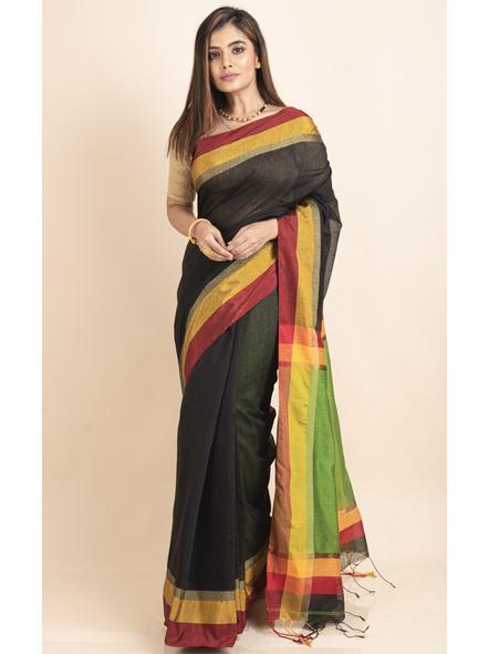 Black Cotton Handloom  with Green Pallu Saree-LAACHS013