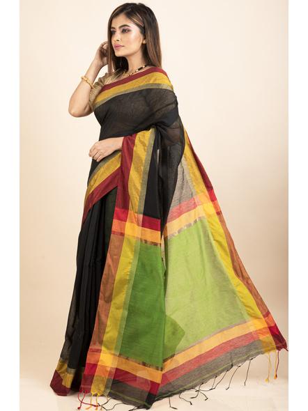 Black Cotton Handloom  with Green Pallu Saree-2