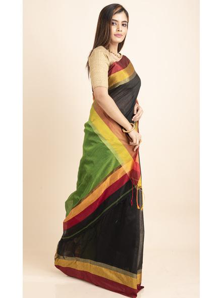 Black Cotton Handloom  with Green Pallu Saree-4