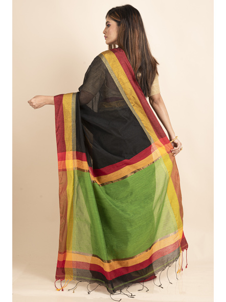 Black Cotton Handloom  with Green Pallu Saree-1