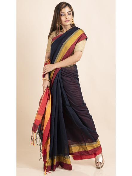 Dark Blue Cotton Handloom with Red Pallu Saree-5