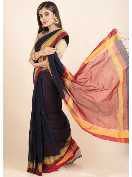 Dark Blue Cotton Handloom with Red Pallu Saree-2