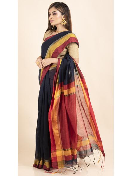 Dark Blue Cotton Handloom with Red Pallu Saree-3