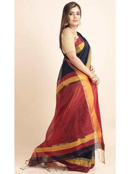 Dark Blue Cotton Handloom with Red Pallu Saree-4