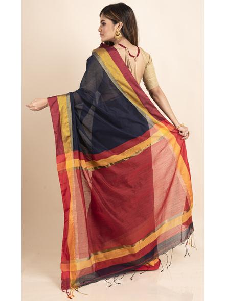 Dark Blue Cotton Handloom with Red Pallu Saree-1