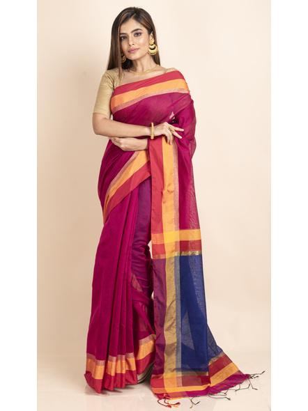 Magenta Cotton Handloom with Blue Pallu Saree-LAACHS015