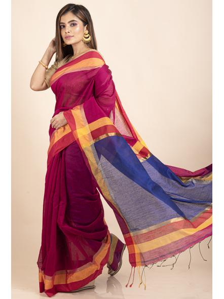 Magenta Cotton Handloom with Blue Pallu Saree-5