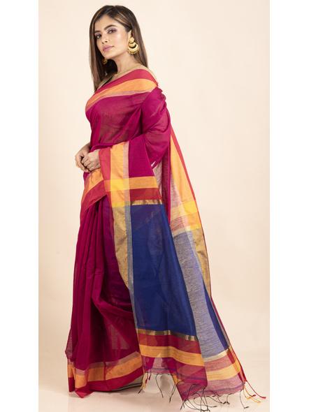 Magenta Cotton Handloom with Blue Pallu Saree-4