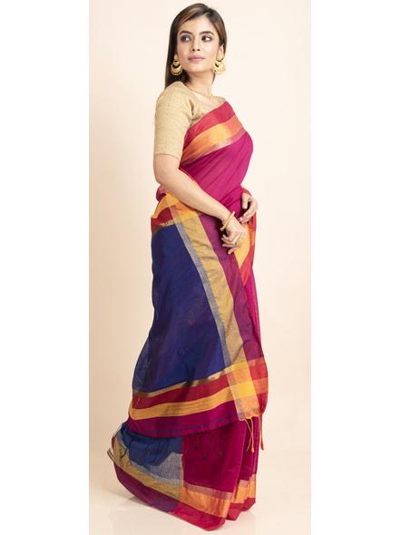 Magenta Cotton Handloom with Blue Pallu Saree-3
