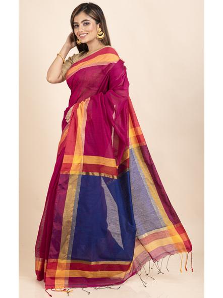 Magenta Cotton Handloom with Blue Pallu Saree-2