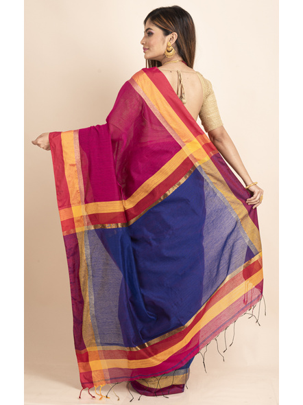Magenta Cotton Handloom with Blue Pallu Saree-1