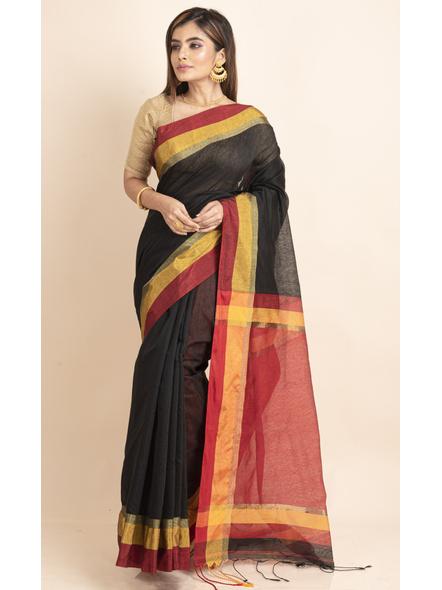 Black Cotton Handloom  with Red Pallu Saree-LAACHS016