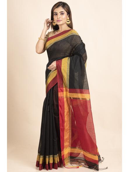 Black Cotton Handloom  with Red Pallu Saree-4