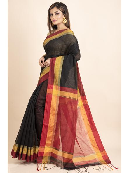 Black Cotton Handloom  with Red Pallu Saree-3
