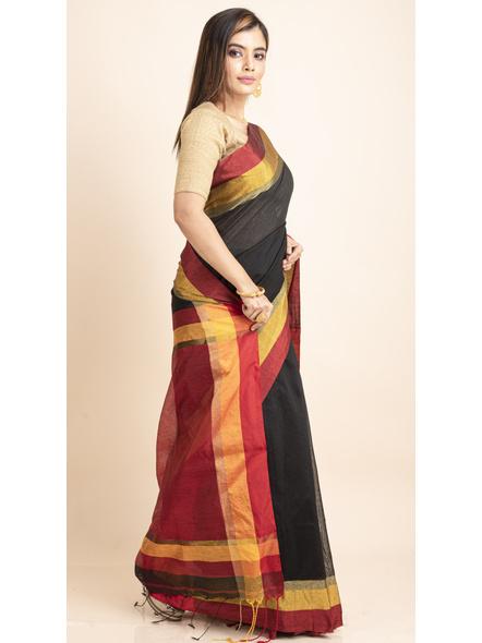Black Cotton Handloom  with Red Pallu Saree-2