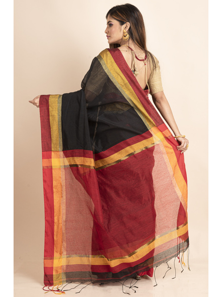 Black Cotton Handloom  with Red Pallu Saree-1