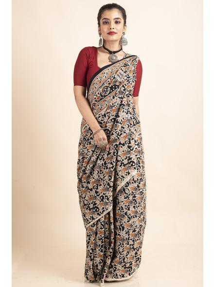 Pure Cotton Black Bird Kalamkari Saree-LAAPCKS001