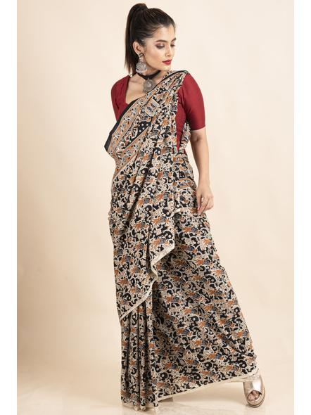 Pure Cotton Black Bird Kalamkari Saree-4