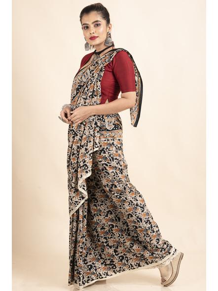 Pure Cotton Black Bird Kalamkari Saree-5