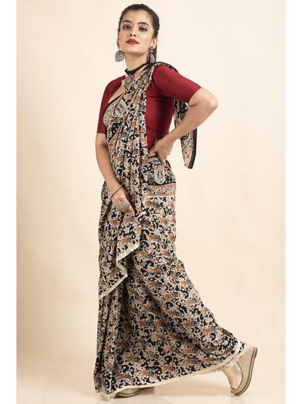 Pure Cotton Black Bird Kalamkari Saree-3