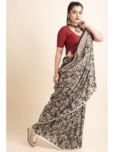 Pure Cotton Black Bird Kalamkari Saree-2