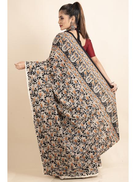 Pure Cotton Black Bird Kalamkari Saree-1