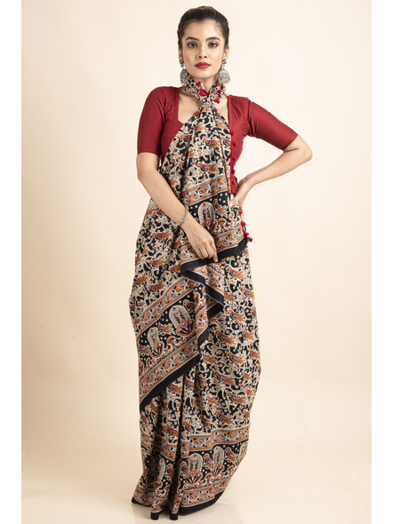 Pure Cotton Black Bird Kalamkari Pompom Saree-3