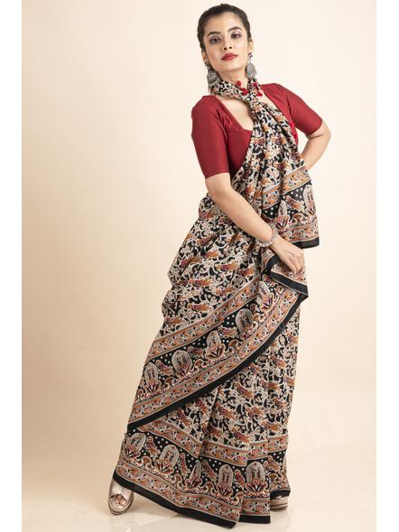 Pure Cotton Black Bird Kalamkari Pompom Saree-4