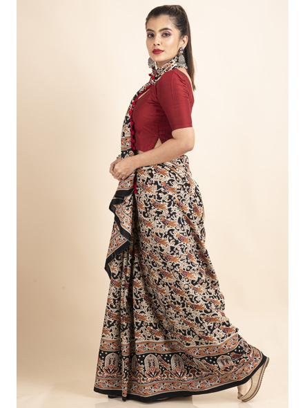 Pure Cotton Black Bird Kalamkari Pompom Saree-2