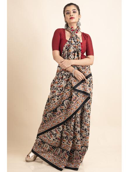 Pure Cotton Black Bird Kalamkari Pompom Saree-LAAPCKS002