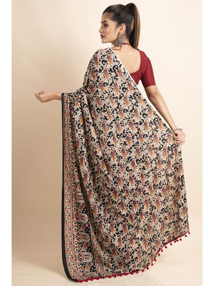 Pure Cotton Black Bird Kalamkari Pompom Saree-1