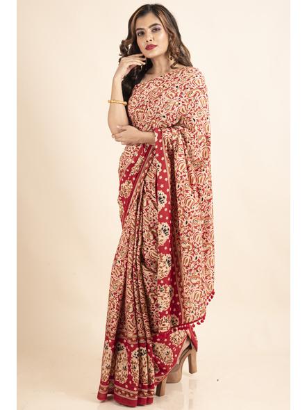 Pure Cotton Red Paisley Kalamkari Pompom Saree-LAAPCKS003