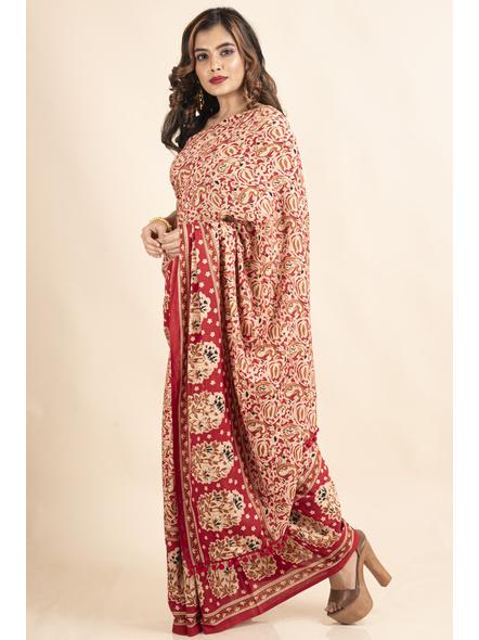 Pure Cotton Red Paisley Kalamkari Pompom Saree-5