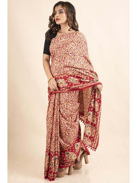 Pure Cotton Red Paisley Kalamkari Pompom Saree-3