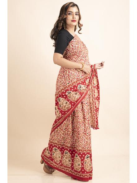 Pure Cotton Red Paisley Kalamkari Pompom Saree-4