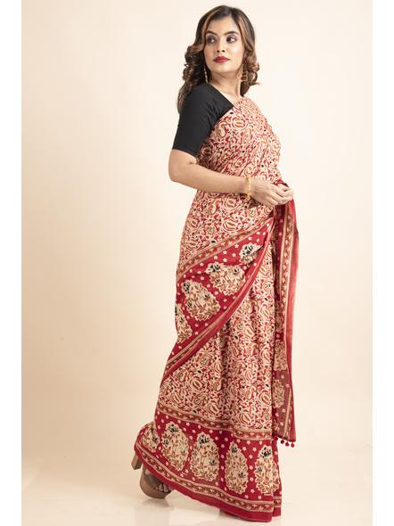 Pure Cotton Red Paisley Kalamkari Pompom Saree-2