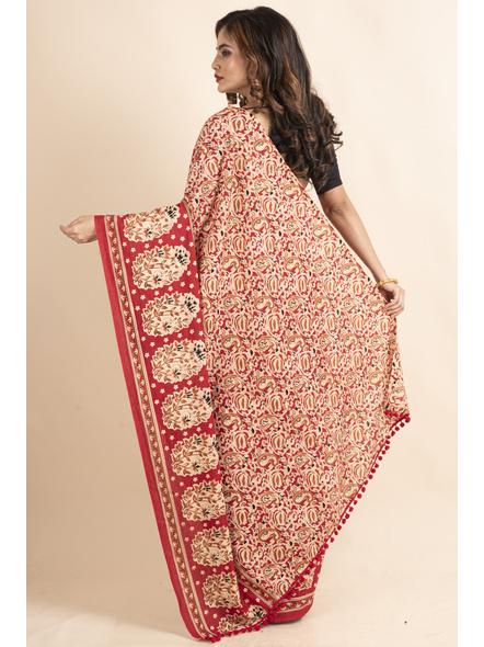 Pure Cotton Red Paisley Kalamkari Pompom Saree-1