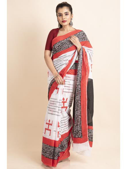 Mulmul Cotton White Red Black Swastik Scripted Saree-LAAMMC011