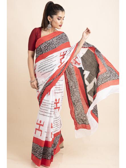 Mulmul Cotton White Red Black Swastik Scripted Saree-4