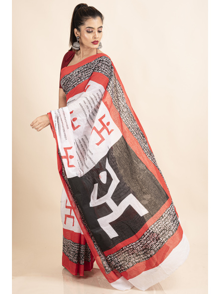 Mulmul Cotton White Red Black Swastik Scripted Saree-2