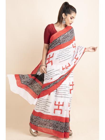Mulmul Cotton White Red Black Swastik Scripted Saree-5