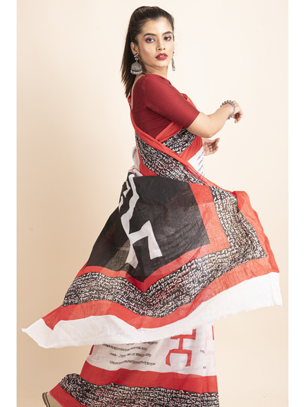 Mulmul Cotton White Red Black Swastik Scripted Saree-3